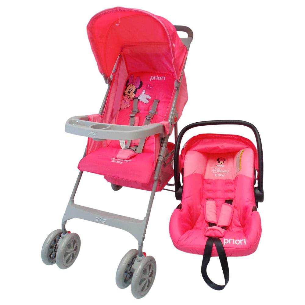 Coche con porta bebe travel system rosa priori for Precios sillitas bebe para coche